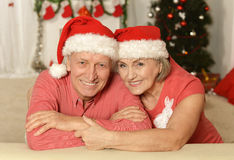 Old couple at Christmas. Portrait of amusing old couple at Christmas royalty free stock photos