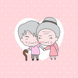 Old Couple. Cute couple and lovers who love each other until old on pink polka dot background Royalty Free Illustration