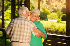 Old couple is dancing. Royalty Free Stock Images