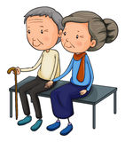 An old couple dating. Illustration of an old couple dating on a white background Stock Image