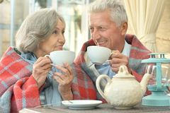 Old couple drinking tea Stock Photos