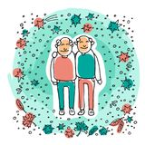Old couple-11. Elderly gay couple on blue background. Gay seniors. Doodle style. Design element for leaflets or posters royalty free illustration