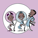 African or Indian Senior Old Couple unisex Coiffeur, Cartoon. Old 'african or indian' couple in hair salon Stock Photos