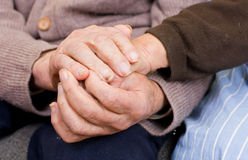 Old couple hands. Old couple holding the hands Royalty Free Stock Photo