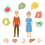 Old couple healthy food. Infographics. Healthy food and human organ chart. Old people healthy lifestyle concept. Smile couple diet infographics. Heart, brain Royalty Free Stock Image