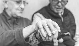 Old couple holding each others hands. On the cane Stock Images
