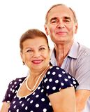 Old couple holding flower. Royalty Free Stock Photography