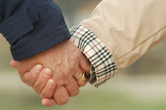Old couple holding hands Royalty Free Stock Photo