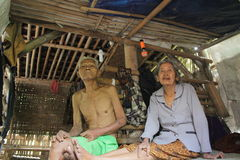 Old couple. Home is unfit to live inhabited old couple with unhealty condition on banyudono, boyolali, central java, indonesia Royalty Free Stock Photography