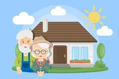 Old couple with house. stock illustration