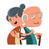 Old couple hugging  illustration cartoon character Stock Images