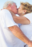 Old couple kissing Royalty Free Stock Photography
