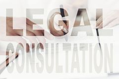 Old Couple On Legal Consultation With Realtor. royalty free stock image