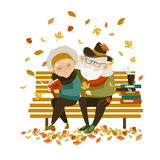 Old couple in love sitting on bench. Vector romantic greeting card vector illustration