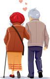Old Couple in Love Walking Together Vector Illustration Stock Photos