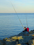Old couple man woman senior fishing Royalty Free Stock Photography