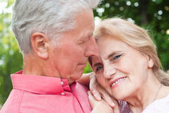 Old couple at nature Stock Photos