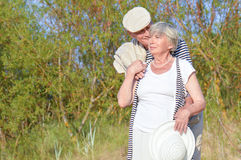 Old couple outdoor Royalty Free Stock Photo