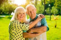 Old couple outdoor. Stock Photos