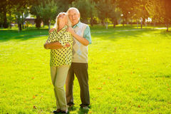Old couple outdoors. Royalty Free Stock Photo