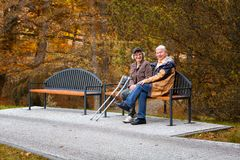 Old couple in the park Royalty Free Stock Photography