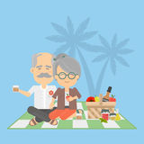 Old couple on picnic. Royalty Free Stock Photography