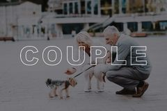 Old Couple Sat Down Pat Dog. Couple Love Story. royalty free stock images