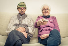 Old couple. Sharing some moments together Stock Photos
