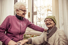 Old couple. Sharing some moments together Royalty Free Stock Photos