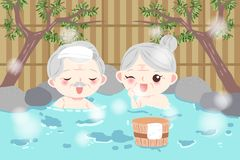 Old couple with hot spring royalty free stock photography