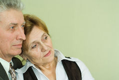 Old couple standing and looking ahead Royalty Free Stock Images