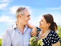 Old couple at summer outdoor. Royalty Free Stock Photos