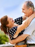 Old couple at summer outdoor. Stock Image