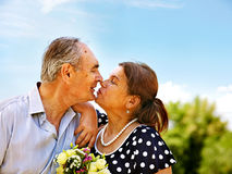 Old couple at summer outdoor. Stock Images