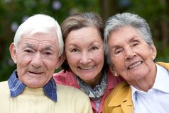 Old couple and their daughter Stock Images