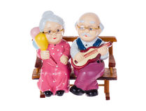 Old couple toy. Isolated on white background Royalty Free Stock Image