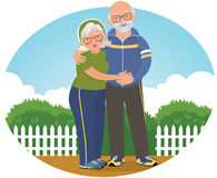 Old couple in track suits vector illustration