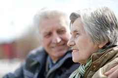 Old couple on a walk. Happy old couple on a walk in the park in spring stock image