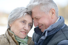Old couple on a walk Royalty Free Stock Photos