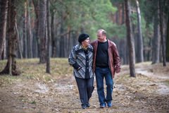 Old couple walking in the forest. Having a good time together. Smiling and talking on autumn or spring Stock Image