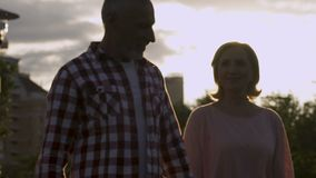 Old couple walking forward, celebration of anniversary, magic hour, slow-mo. Stock footage stock video footage