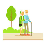 Old Couple Walking Holding Hands, Part Of People In The Park Activities Series Royalty Free Stock Photography