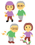 Old couple walking and pains Stock Photos