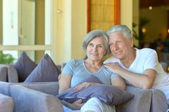 Old couple went to a resort vacation Stock Photo