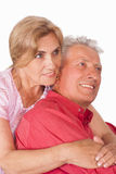 Old couple on white Royalty Free Stock Photo