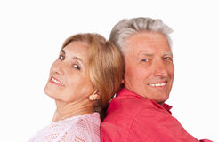 Old couple on white. Cute elderly couple on a white background Stock Images