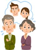 An old couple who feels uneasy about their son and couple stock illustration