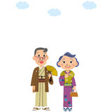 Old couple who wears a kimono Royalty Free Stock Photography