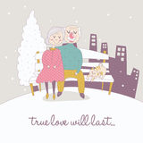 Old Couple in Winter Background Stock Image