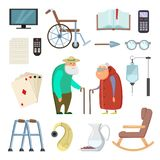 Old couples with different assistants tools for healthy life stock illustration